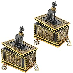 Design Toscano Egyptian Décor Trinket Box - Royal Bastet Statue Egyptian Jewelry Box: Set of Two - Cat Statue