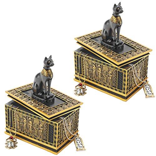 Design Toscano Egyptian Décor Trinket Box - Royal Bastet Statue Egyptian Jewelry Box: Set of Two - Cat Statue