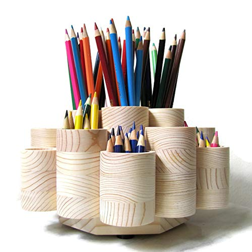 Deluxe Rotating Colored Pencil Holder Organizer, Wooden Storage Caddy Carousel, 19 Cups for 260 Pencils and Pencil Stubs