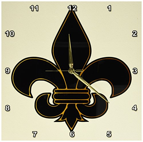 3dRose dpp_22360_2 Large Black and Gold Fleur De Lis Christian Saints Symbol-Wall Clock, 13 by - Saints Orleans New Clock Desk