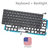 BESTeck Backlight A1278 Keyboard Replacement with Backlit for MacBook Pro 13'' 2009-2015 Years US Layout MD313 MD314 MC374 MC375 MB466 MB467 MC700 MC724 MB990 series Laptop (1 Year Warranty)