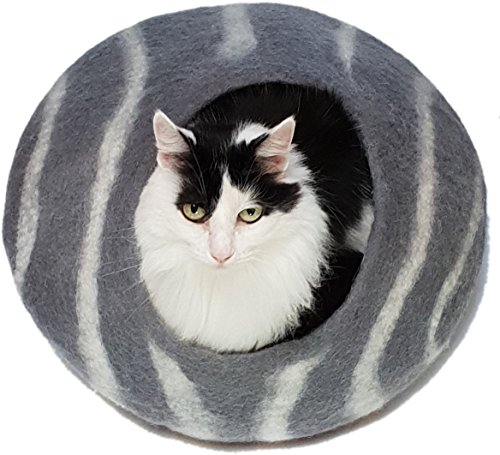 SleekTiger Cat Cave Bed Round, tiger-striped Grey and White. For Outdoor Cats and Indoor Cats and Kittens. Natural Handmade 100% Merino Wool Felt. Chemical-Free, Synthetic-free.
