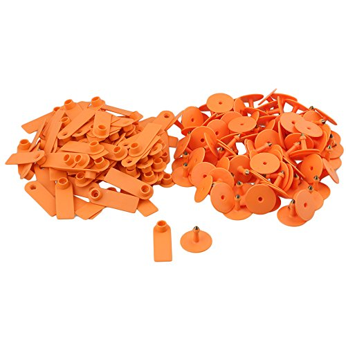 BQLZR 52x18mm Orange Sheep Pig Goat Cow Plastic Ear Tag Blank for Small Livestock Pack of 100
