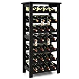 Homfa Bamboo Wine Rack, 7 tier Free Standing Bottles Display Shelves Storage Standing Table, 28 Bottles Capacity, Wobble Free for Home Kitchen, Retro Color