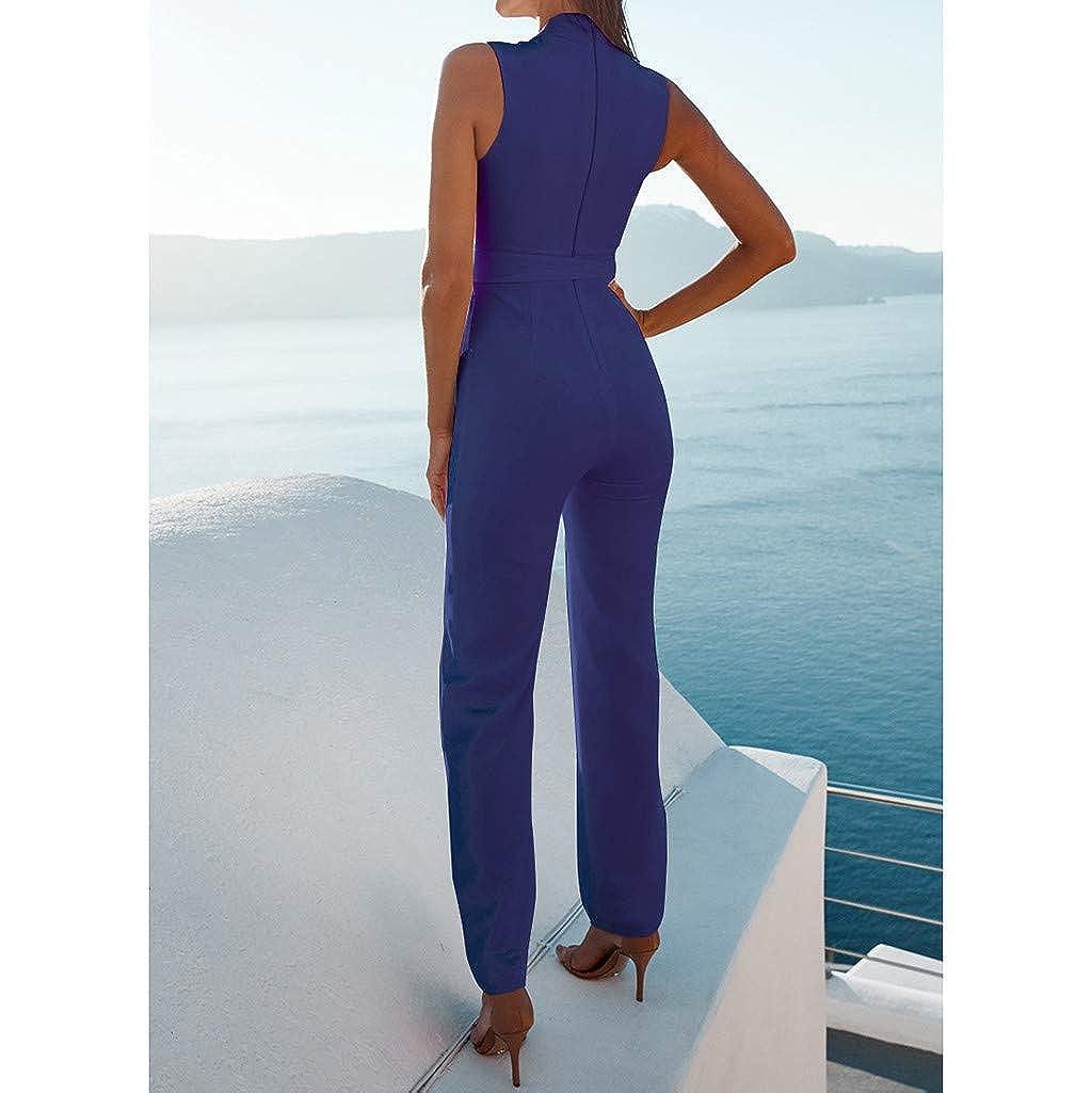 RAISINGTOP Womens Jumpsuits Casual V Neck Bodycon High Waist Pants Sleeveless Overalls Rompers Elegant Playsuit Bodysuit