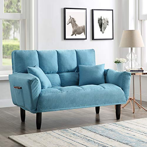 EiioX Modern Sofa with Pillows Convertible Upholstered Tufted Settee Bedroom Bench, Comfortable Foam Chair Full Size Sleeper Bed for Living Room with Support Legs, Blue