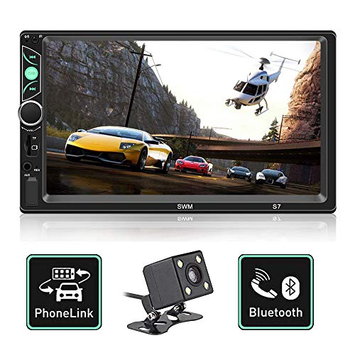 - Double Din Car Stereo 7 Inch Touch Screen Car MP5 Player Support Backup Rear View Camera FM Radio Car Audio  with Steering Wheel Remote Control Mirror Link