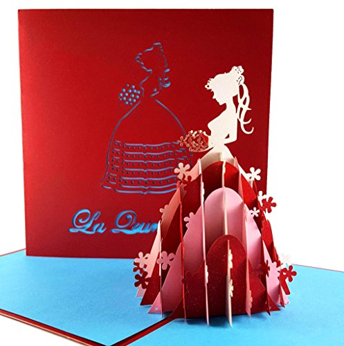iGifts And Cards Happy La Quinceañera 3D Pop Up Greeting Card - 15th Birthday, Grace, Pink Party, Feliz Quince, Gift, Rose, Unique Special, Half-Fold, Congratulations, Fancy, Celebration, Birthday