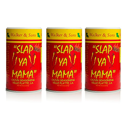 Slap Ya Mama Louisiana Style Cajun Seasoning, Hot Blend, MSG-Free and Kosher, 8 Ounce Can, Pack of 3