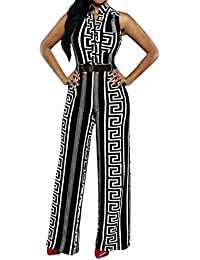 Womens Button Printed Long Wide Leg Pant Club Party...