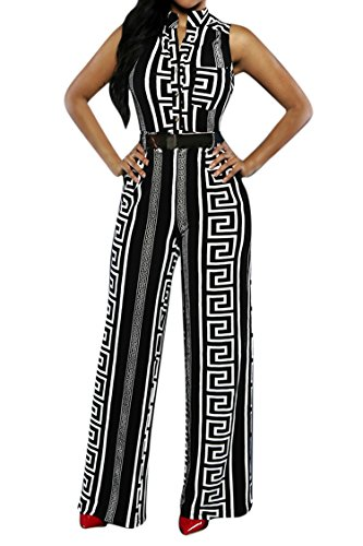 (Pink Queen Womens Geometric Print Sleeveless Loose Long Belted Jumpsuits Rompers,Black Geometric,Small)