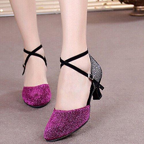 Pour 5 Caoutchouc Chaton Semelle Cuir 3 En Latines Chaussures Pointu Violet Talons Bal Femmes Sequins Talon Danse Aymypl De Salle Bout gadqxHwgF