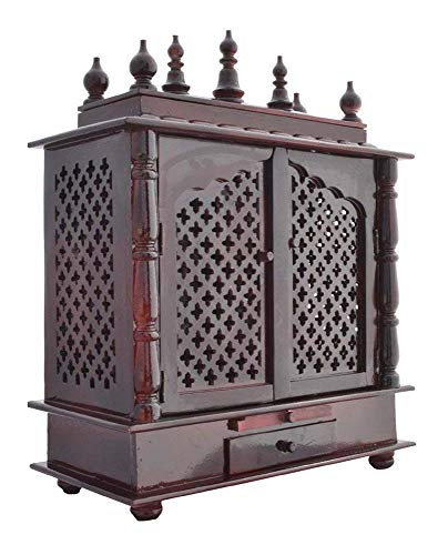 Jaipur Lane Wooden Pooja Mandap/Home Temple (60 cm x 30 cm x 75 cm, Brown, Temple 058)
