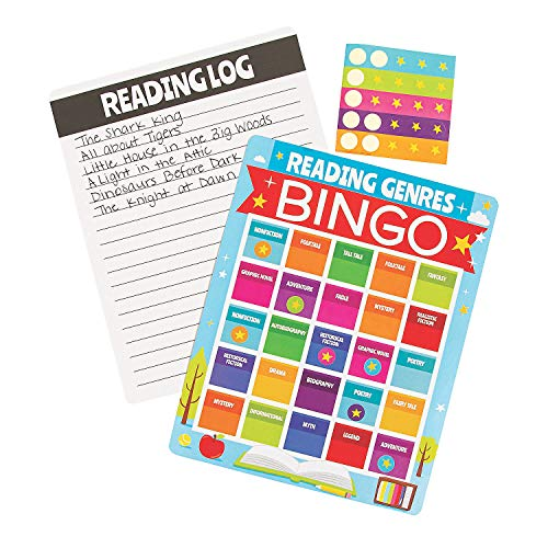 Fun Express Reading Genres Bingo | 1 Set, 780 Pieces | Great for Students, Literature Class, English Subject, Party Favors, Parlor Games