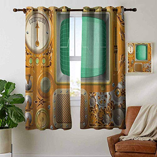 Kitchen Curtains Retro,Industrial Victorian Style Grunge Steampunk TV Gauger Retro Clockwork, Orange Green Pale Grey,Rod Pocket Drapes Thermal Insulated Panels Home décor 42