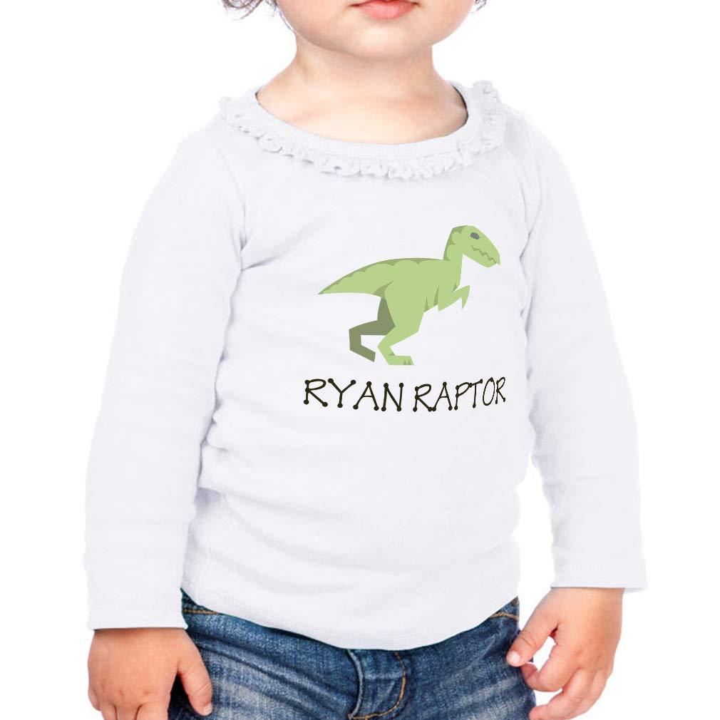 Personalized Custom Raptor Cotton Girl Toddler Long Sleeve Ruffle Shirt Top