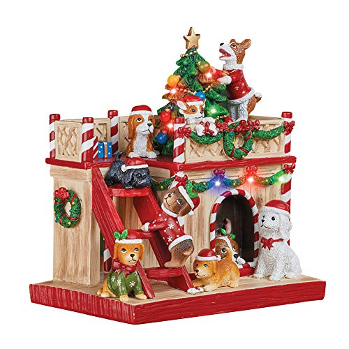 Collections Etc Lighted Holiday Dog House Tabletop Christmas ()