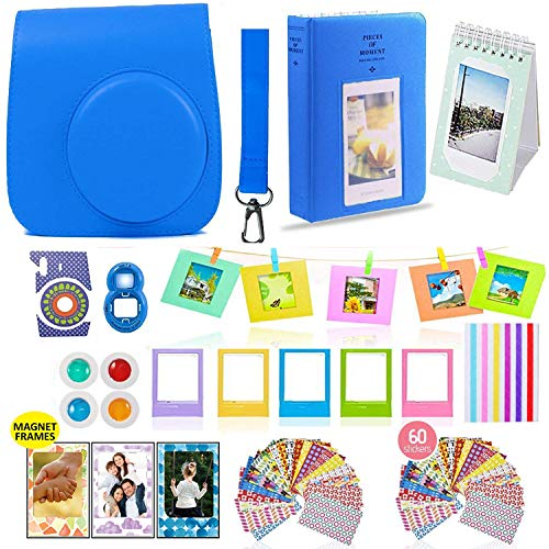 Fujifilm Instax Mini 9 Camera Accessories Bundle, 14 PC Kit Includes: Cobalt Blue Instax Case + Strap, 2 Albums, 4 Color Filters, Selfie Lens, Magnets + Hanging + Creative Frames, Stickers, Gift Box