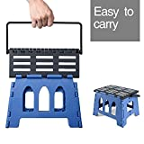 Acko 15 Inches Folding Step Stool Child Step Stool with Handle for Adults and Kids Kitchen and Garden Step Stool Black Matching blue Color
