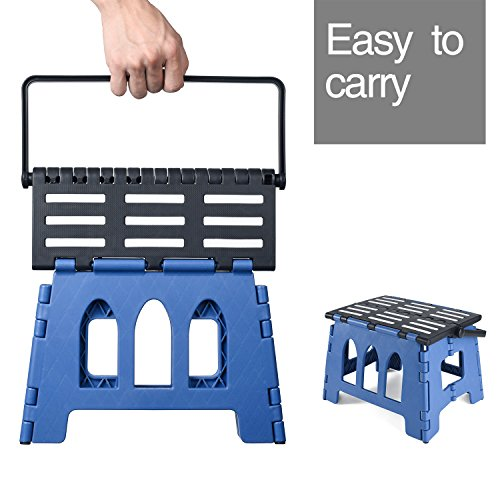 Acko 15 Inches Folding Step Stool Child Step Stool with Handle for Adults and Kids Kitchen and Garden Step Stool Black Matching blue Color by Acko