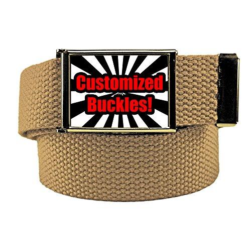 Custom Printed Men's Flip Top Bottle Opener Buckle with Canvas Web Belt Large Khaki - Printed Canvas Belt