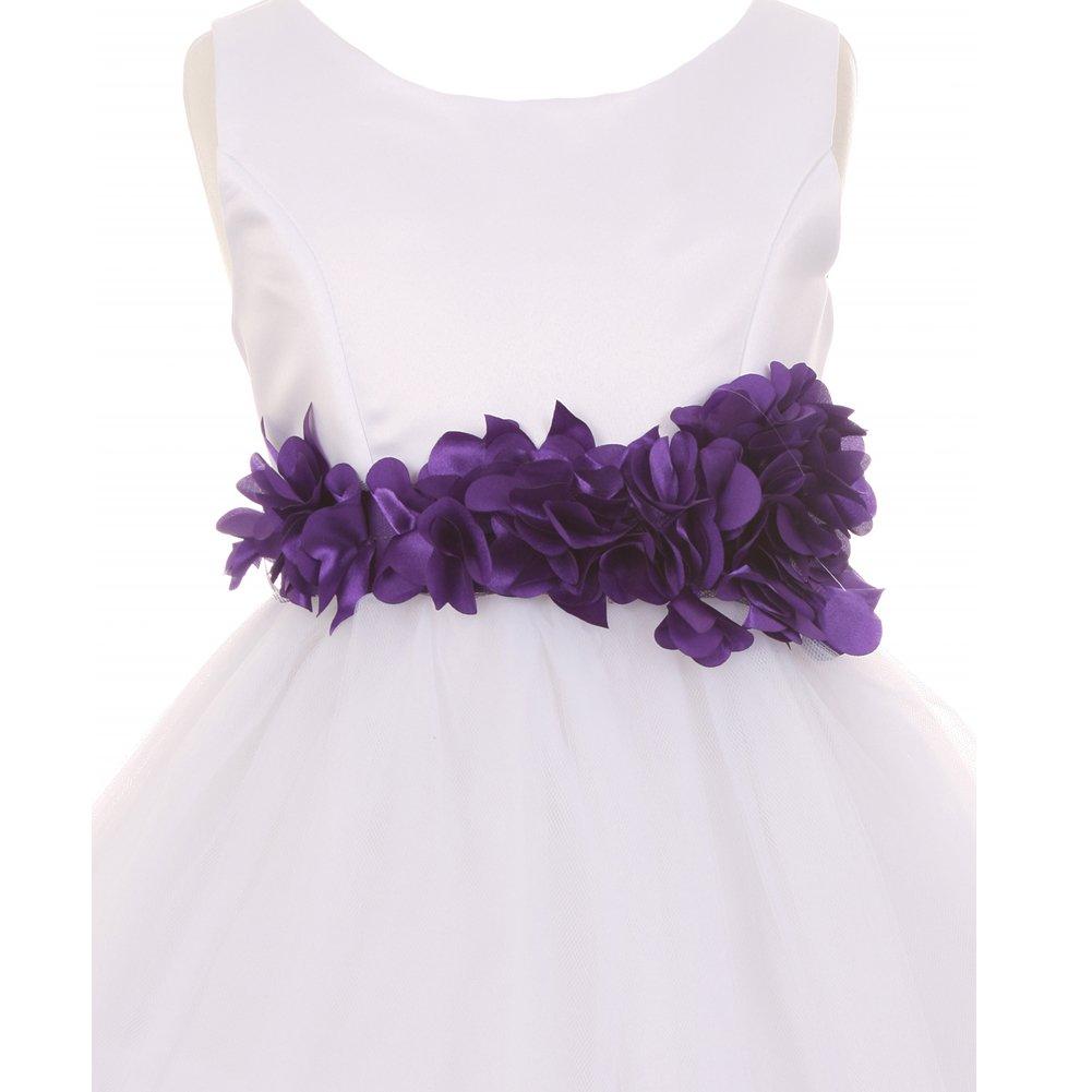 Amazon Cinderella Couture Little Girls White Purple Petal Sash