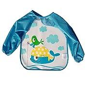 URAQT Unisex Baby Waterproof Sleeved Bib Eat and Play Smock,Toddler Apron of PEVA Whale
