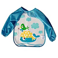 URAQT Unisex Baby Waterproof Sleeved Bib Eat and Play Smock,Toddler Apron of ...