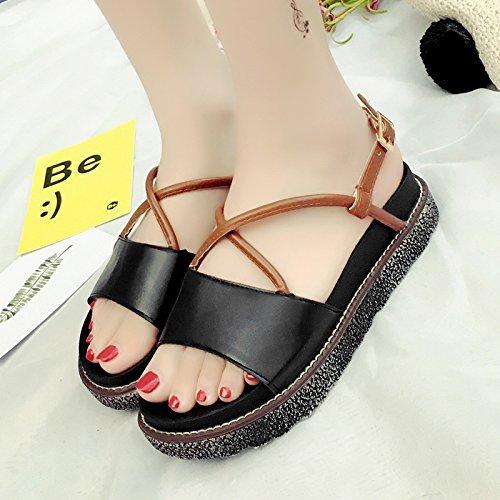 RUGAI-UE Sandalias de suela gruesa mujeres estudiantes plana Zapatos de verano Black