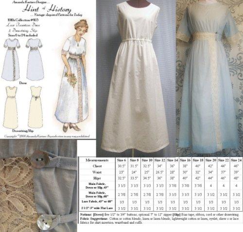 Drawstring Slip (1910's Lace Insertion Dress and Drawstring Slip Pattern)