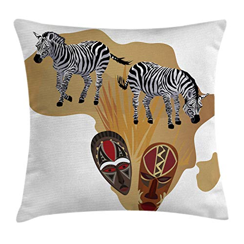 - Ambesonne Safari Throw Pillow Cushion Cover, Illustration of Native Ethnic Icons and Traditional Ceremonial African Mask Zebra, Decorative Square Accent Pillow Case, 24 X 24 Inches, Multicolor