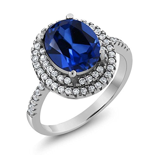 Sterling Silver Blue Simulated Sapphire Women's Ring 4.60 cttw (Size 8) by Gem Stone King