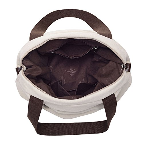 large and handbag women's beautiful shoulder capacity Nlyefa bag practical canvas Beige black nxIwW4C