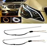 06 mazda 6 headlight assembly - Partsam Pair of 45cm Illuminating White/Amber Switchback LED Tube Strip Lights For Headlight Retrofit