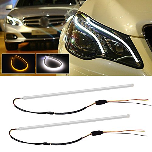 Partsam Pair of 45cm Illuminating White/Amber Switchback LED Tube Strip Lights For Headlight Retrofit (Custom Car Headlights)