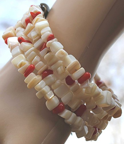 Mother Of Pearl Dyed Chip - Mother-of-pearl shell (natural) + Red Dyed Coral, small chip, Memory Wire Wrap Bracelet Medium