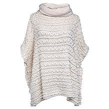 SherryDC Women's Turtleneck Crochet Knit Short Sleeve Pullover Poncho Sweater