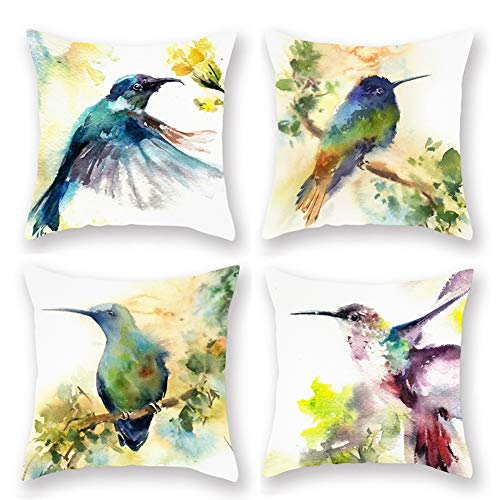 Fukeen Set of 4 Watercolor Painting Birds Throw Pillow Covers Hummingbird Tree Branch Decorative Super Soft Pillow Case Cushion Cover Standard 18x18 Inch Pillowslip New Home Room Decor ()