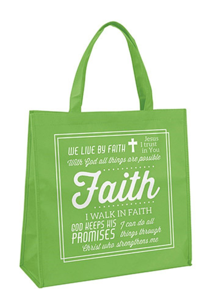 Pack of 12 Green Faith Tote Bags. 13'' W x 13'' H x 6'' D.