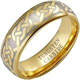 Brand New Mens Band Ring crafted in Pure Tungsten Carbide with Celtic Pattern packed in a Free Gift Box.