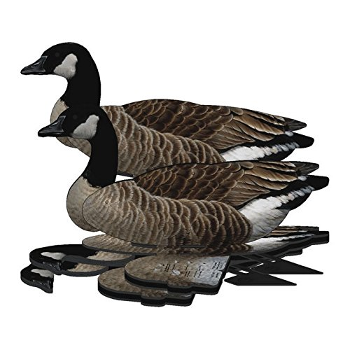 Lesser Canada Goose Decoy - 6-Pack Foldable Lesser Canada Goose for Hunting - Land and Water Use - Waterproof, Shot-Proof - Realistic UV Decoy Paints - Includes Anchors, Anchor String and Fudslinger ()