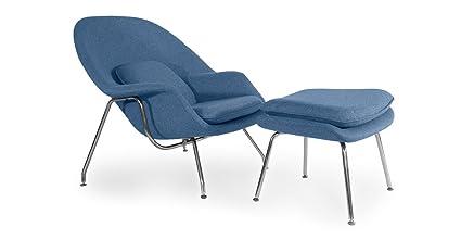 Charmant Kardiel Womb Chair U0026 Ottoman, Azure Houndstooth Twill