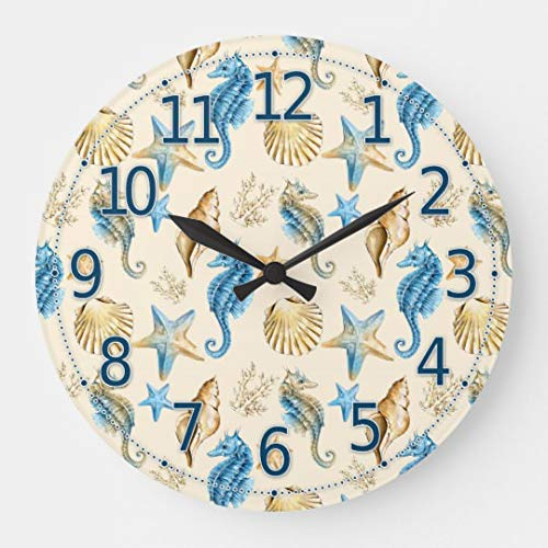 (Moonluna Sea Life Pretty Seahorse Wooden Wall Clock for Living Room Bedroom Kitchen Home Office Decoration 16 Inches)