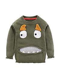 Mud Kingdom Little Boys Sweater Funny Cartoon Monster Pullover Green