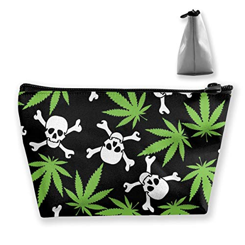 NOWDIDA Makeup Bag for Purse Travel Makeup Pouch Mini Cosmetic Bag for Women Girls Marijuana Weed Skull Crossbones Black