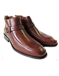 NEW MENS ANKLE BOOTS BUCKLE DESIGN TAPERED FRONT ZIPPER LEATHER SHOES M835 / BROWN