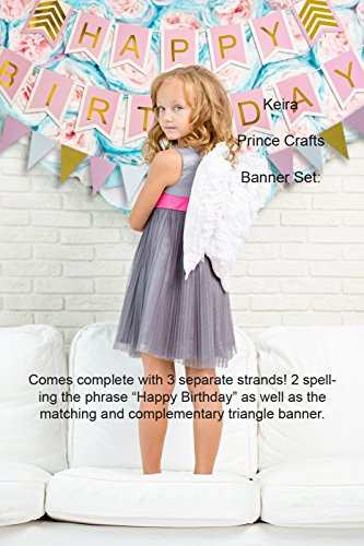 Keira-Prince-Happy-Birthday-Banner-Set-Pink-With-White-Trim-Gold-Letters-Stylish-Gold-Chevron-Accents-Matching-Triangle-Banner