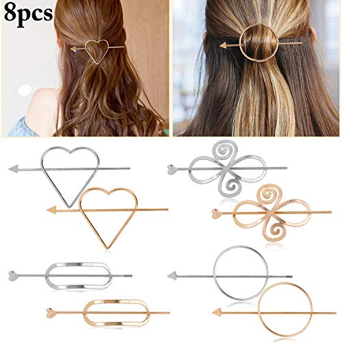 Hair Clips for Women,Kapmore 8PCS Minimalist Dainty Hair Clips Geometric Hairpin Clamps Hair Styling Accessories for Girls Women