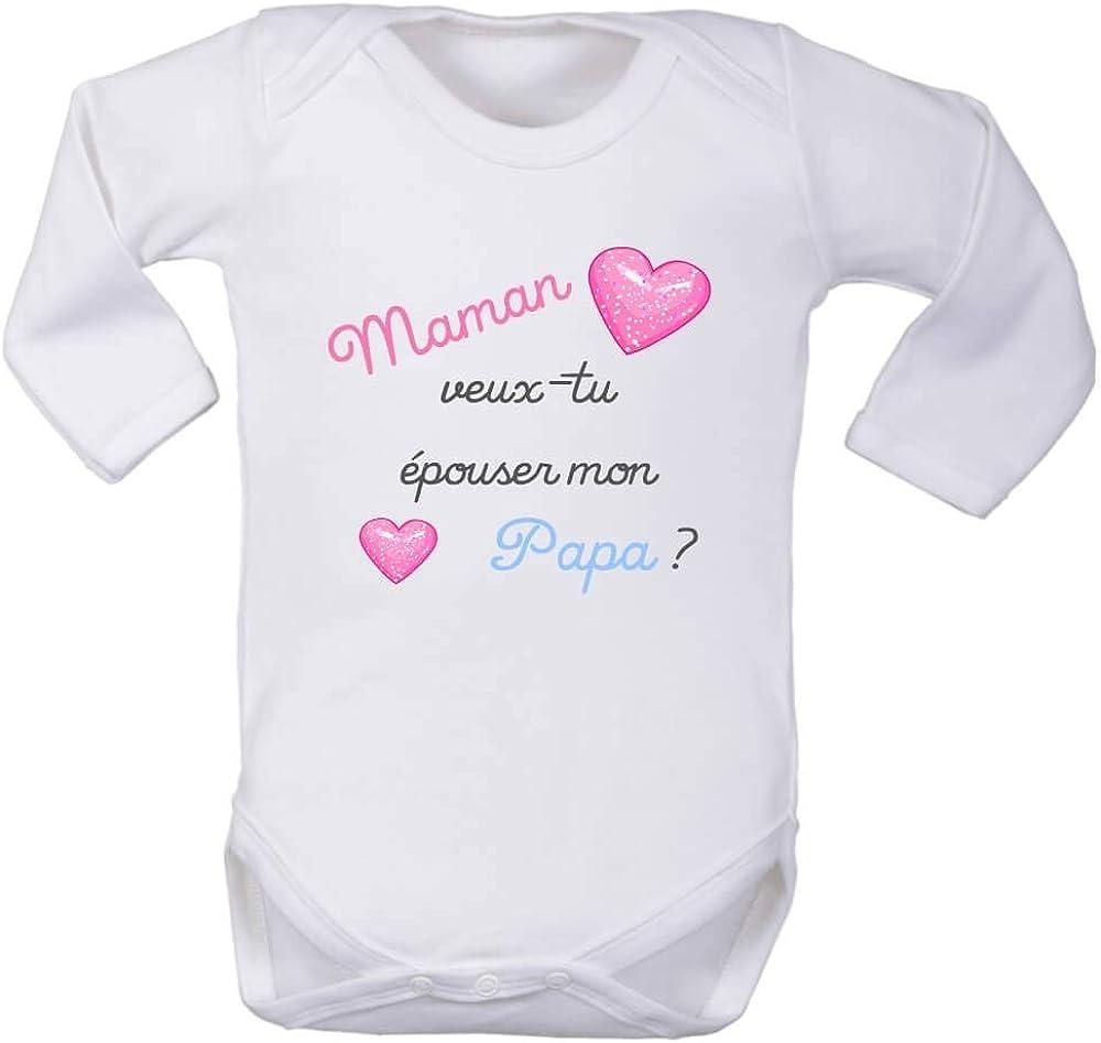 Maman Cadeau b/éb/é Papa Body Enfant brassi/ère Demande en Mariage Surprise Heureux /év/ènement