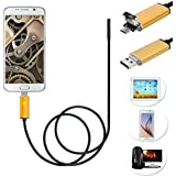 7mm Android USB 2 in1 Endoscope, Ximandi 0.5M Waterproof Borescope Inspection Camera CMOS HD Snake Camera with 6 Adjustable Led Lights (Gold)
